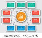 vector abstract 3d paper... | Shutterstock .eps vector #627367175