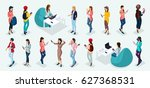 trendy isometric vector people  ... | Shutterstock .eps vector #627368531