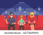 happy family watching 3d movie...   Shutterstock .eps vector #627369491