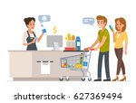 retail woman cashier with... | Shutterstock .eps vector #627369494
