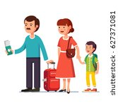 family standing with boarding... | Shutterstock .eps vector #627371081