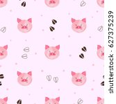 Seamless Cute Pig Pattern....