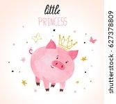 little princess pig vector... | Shutterstock .eps vector #627378809
