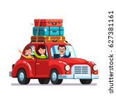 happy family traveling by car... | Shutterstock .eps vector #627381161