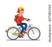 teen kid school boy cycling on... | Shutterstock .eps vector #627381314