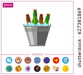 beer bucket with ice icon | Shutterstock .eps vector #627381869