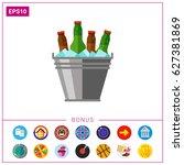 beer bucket with ice icon | Shutterstock .eps vector #627381869