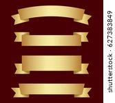set of golden ribbons on brown...   Shutterstock .eps vector #627383849
