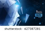 blue polygonal abstract... | Shutterstock .eps vector #627387281
