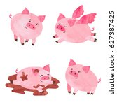 watercolor cute pigs set.... | Shutterstock .eps vector #627387425