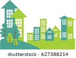 cityscape and suburban area... | Shutterstock .eps vector #627388214