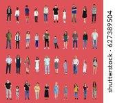 diversity people set gesture... | Shutterstock . vector #627389504