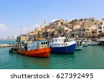 sailing boats in old jaffa port ... | Shutterstock . vector #627392495