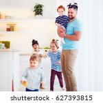 father with weird hairstyle... | Shutterstock . vector #627393815
