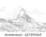 mountain matterhorn. symbol of... | Shutterstock .eps vector #627395369