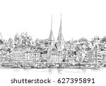luzern. switzerland. europe.... | Shutterstock .eps vector #627395891