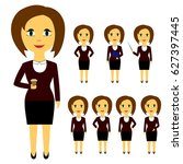 set of business people in flat... | Shutterstock .eps vector #627397445
