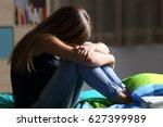 portrait of a single sad teen... | Shutterstock . vector #627399989