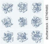 3d abstract isometric... | Shutterstock . vector #627404681