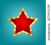 retro light sign  star shape.... | Shutterstock .eps vector #627415139