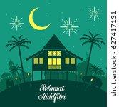 hari raya aidilfitri vector... | Shutterstock .eps vector #627417131