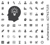 Head Idea Icon. Bulb Concept...