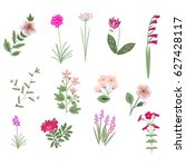 pink vector isolated flowers... | Shutterstock .eps vector #627428117