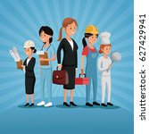 labor day group women workers... | Shutterstock .eps vector #627429941