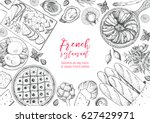 french cuisine top view frame.... | Shutterstock .eps vector #627429971