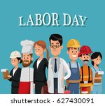 labor day card with people... | Shutterstock .eps vector #627430091