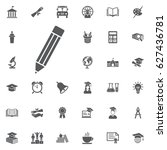 pencil icon vector on the white ... | Shutterstock .eps vector #627436781