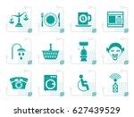 stylized roadside  hotel and... | Shutterstock .eps vector #627439529