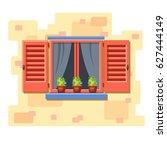 vector window with pink... | Shutterstock .eps vector #627444149