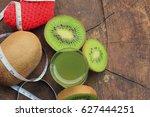 kiwi juice | Shutterstock . vector #627444251