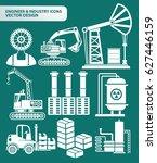 industry icon set clean vector | Shutterstock .eps vector #627446159