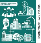 engineer and industry icon set... | Shutterstock .eps vector #627446405