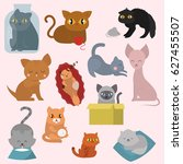 cute cats character different... | Shutterstock .eps vector #627455507