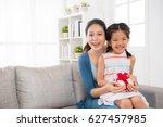 happy girl children and mother... | Shutterstock . vector #627457985
