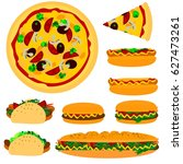 fast food | Shutterstock .eps vector #627473261