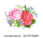 pink roses flowers. hand drawn... | Shutterstock . vector #627475685