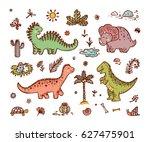 extinct animals. cute cartoon...   Shutterstock .eps vector #627475901