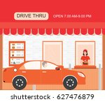 drive thru fast food restaurant ... | Shutterstock .eps vector #627476879