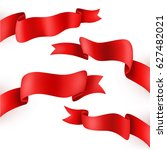 red ribbons sets isolated ... | Shutterstock .eps vector #627482021