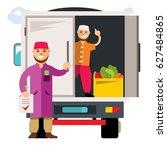vector unloading truck. flat... | Shutterstock .eps vector #627484865