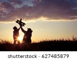 father and son playing with... | Shutterstock . vector #627485879
