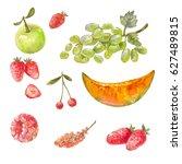 set of different russian fruits ...   Shutterstock . vector #627489815