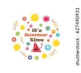 summer time floral vector... | Shutterstock .eps vector #627490931