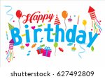happy birthday background  | Shutterstock .eps vector #627492809