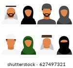 arabic man and woman  vector... | Shutterstock .eps vector #627497321