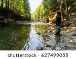 fisherman on a beautiful...   Shutterstock . vector #627499055